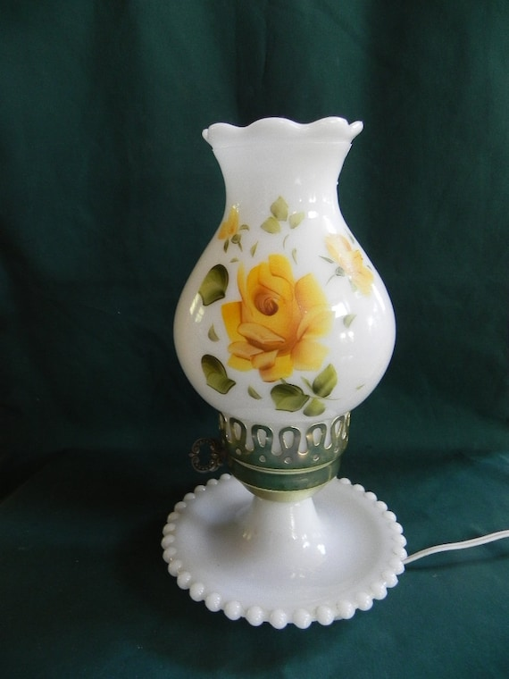 Vintage White Milk Glass With Yellow Roses Electric By