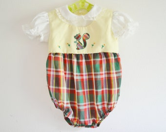 Vintage Nannette Squirrel Plaid Onesie 6-9 months