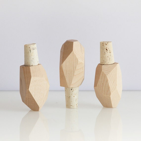 Bottle Stopper Contemporary Faceted Geometric Wood Maple
