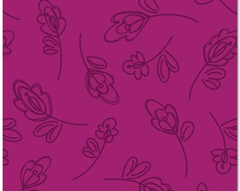 SALE Daisy Janie New Leaf Raspberry Floret Organic Cotton fabric