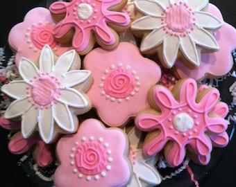 Flower Cookies Mother's Day 1 dozen Decorated Sugar Cookies