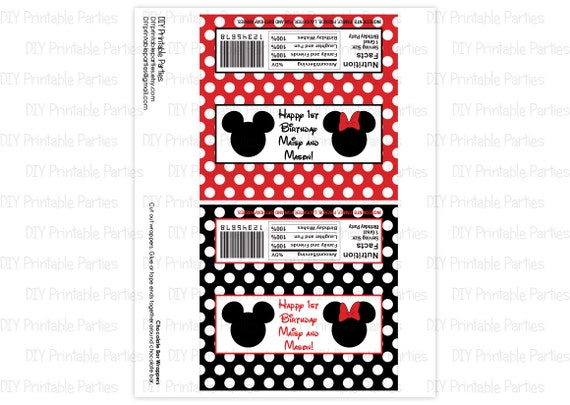 printable diy black and red mickey mouse and minnie mouse