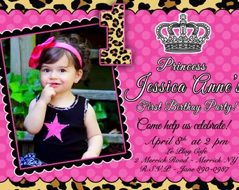 CUSTOM PHOTO Invitations Cheetah Princess Birthday Invitation - You Print - PRINTABLE - I Customize You Print - 4x6 or 5x7