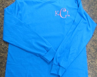 Monogrammed Tshirt- Long sleeve  Great for Bridesmaids, Teens, Graduation, Best Friends, Greek, and Birthday Gifts