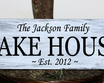 "Primitive - Large size - Custom family name lake house sign with established date - 7.25"" x 22"""