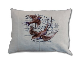 Parisian Loveletter Collection - Swallow Linen Cushion