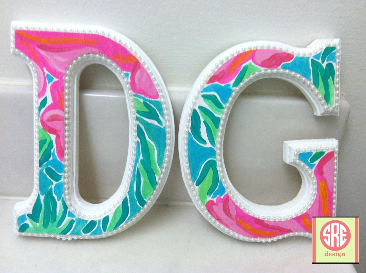 lilly pulitzer inspired dg wooden letters with pearls by With lilly pulitzer wooden letters