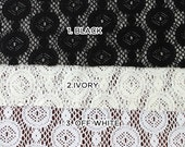 Ornament Crochet Lace Fabric SINGLE COLOR Swatch Sample 3 Colors Available - Style 136