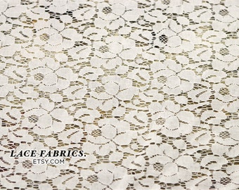 Off White Cotton Lace Fabric by the Yard, Vintage Lace Fabric, Cotton Lace Fabric Style 200 - 1 Yard