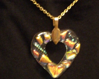 Clear Glass Heart Pendant Necklace with dichroic glass highlights