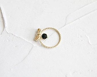 Hold on 14K Gold Swarovski Crystal Ring