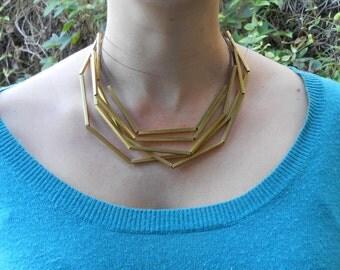 Multi-Layer Geometric Necklace in Five