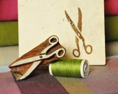 Scissor, hand crafted wood stamp