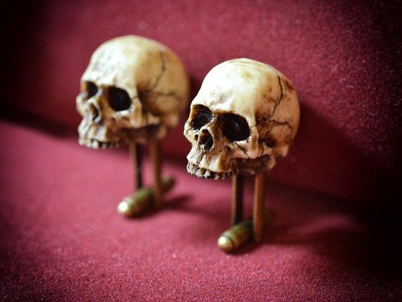 Victorian Skull Cufflinks Scary Hand made resin skull cuff  Victorian Skull...