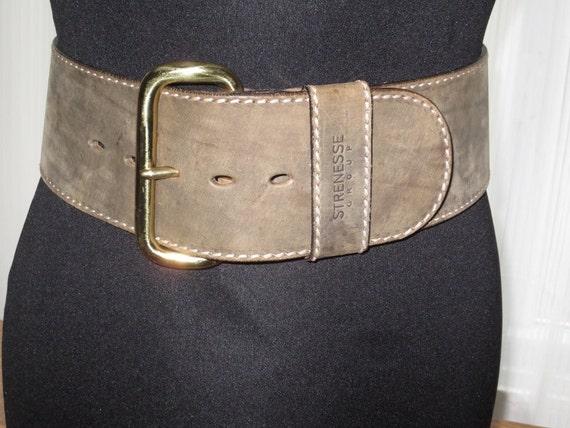 vintage strenesse womans leather belt 3 inch wide brushed