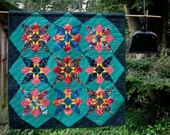 Skyrockets patchwork lap quilt