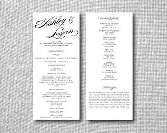 Printable Custom DIY Wedding Program - Calligraphy - Tea Length