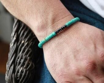 Mens Beaded Bracelet - Hematite and Turquoise mens bracelet