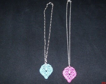 """Necklace 18"""" silver plated necklace with Embroidered Heart"""