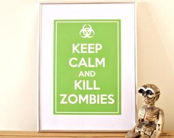 Keep Calm Zombie Biohazard Graphic Print Poster