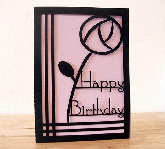 Art Deco Birthday Card Paper Cut Birthday Card Charles