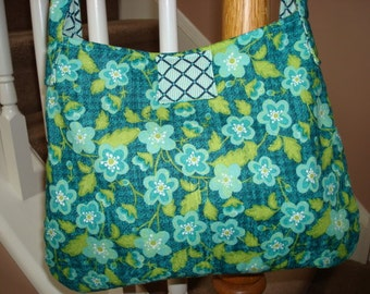Blue and Green Floral Hobo Bag, Lattice Lining, Medium Size