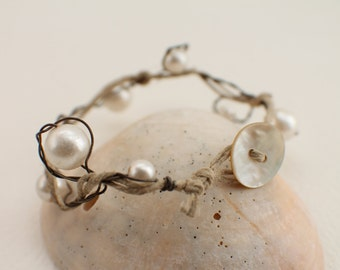 Bracelet of Twisted Wire, Hemp and Pearls