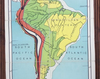 Vintage school map of South America, Physical (No.1 in the Gill Simplified map series)