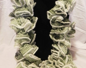 Green Varigated Knit Ruffle Scarf with White edging