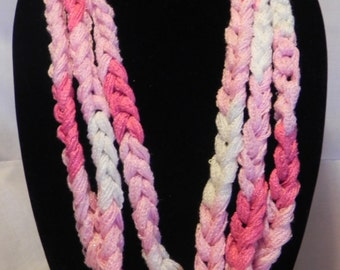 Chunky Crochet Chain Scarf/Necklace in Sparkly Varigated Pink and White