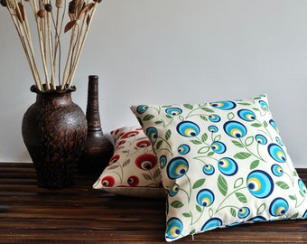 Evileye Pattern Linen Pillow Cover - May Flower Pillow - Decorative Floral Pillow - Blue Floral Pillow Cover