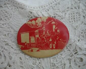 steamtrain locomotive brooch