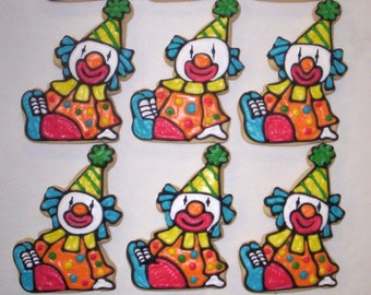 Birthday Party Cookie Favors, Clown Cookies for Birthday Parties, Great Birthday Party Favors, Clown Theme Cookies, Circus Theme Cookies