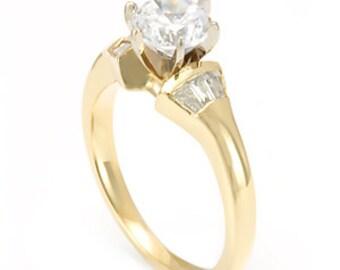 Baguette Diamonds, Channel Set, 14K Yellow Gold, CZ Engagement Ring, Bridal Ring