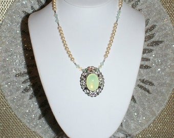 Vintage Yellow Glass Moonstone Necklace