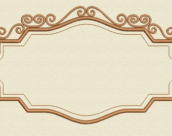 """Vintage Frame  Embroidery Design Instant Downlad 6"""" x 3.9"""" and 4"""" x 2.7"""""""