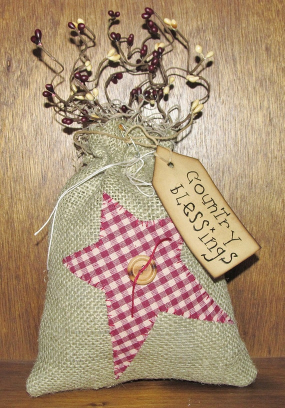country burlap bag primitive country decor