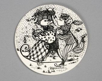 bjorn wiinblad plate nymolle january black denmark fajance danish kontakt vintage retro collectible