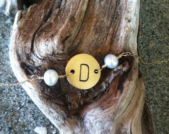 Monogram Necklace, Initial Necklace, Matte Gold, Birthstone