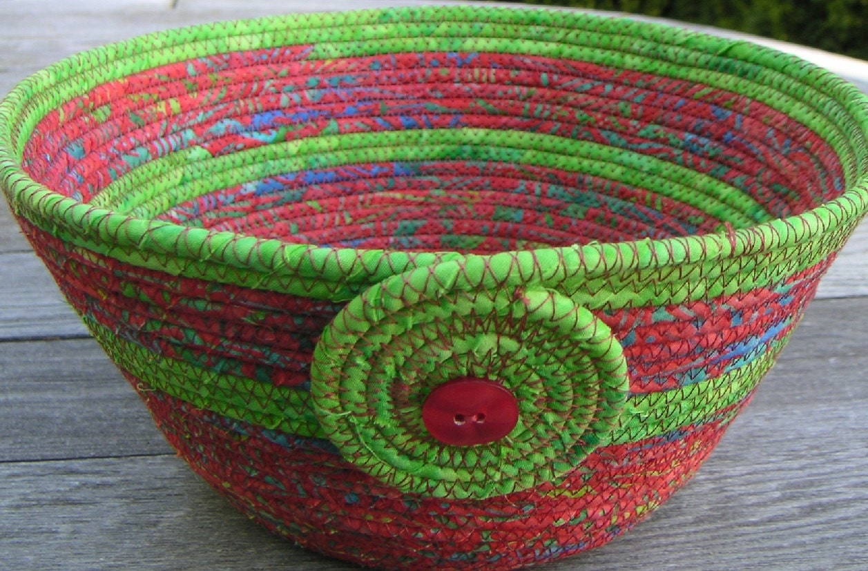 Medium Coiled Fabric Basket Fabric Bowl by CentralFabrications