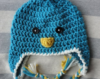 Baby Bird Crochet Hat with/without Earflaps (customizable!)