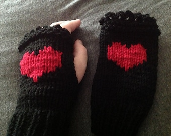 Valentines Day Fingerless Gloves - Black with Red Heart