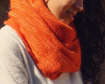 Astrid Cowl in Pumpkin / Chunky Herringbone Knit Infinity Scarf, fall autumn winter