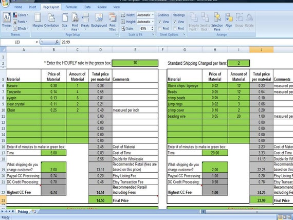 price list template excel .