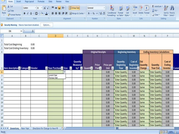 Ending Inventory in Excel