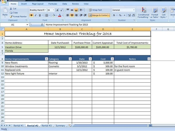 Home improvement tracking template in excel by for Excel shipping tracking template
