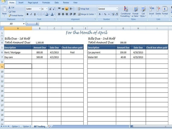 Monthly Bill Organizer, Bill Tracker - Calculates Total Due for 1st ...