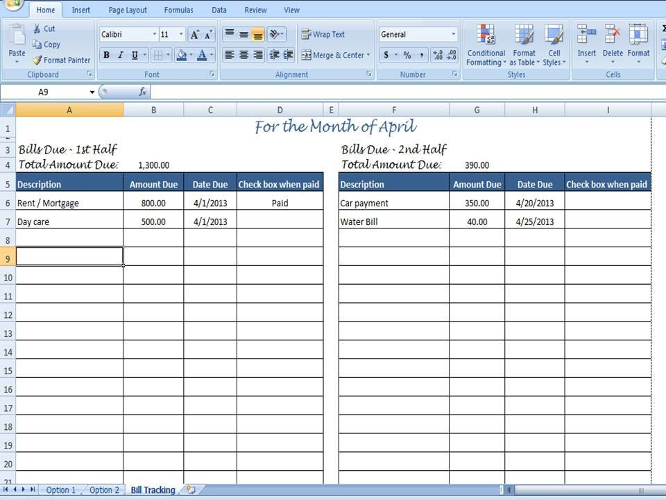 Excel Bill Tracker Template  CityEsporaCo