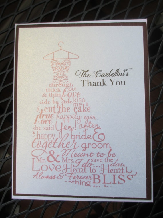 wedding dress thank you cards simple and by rockpapercreate