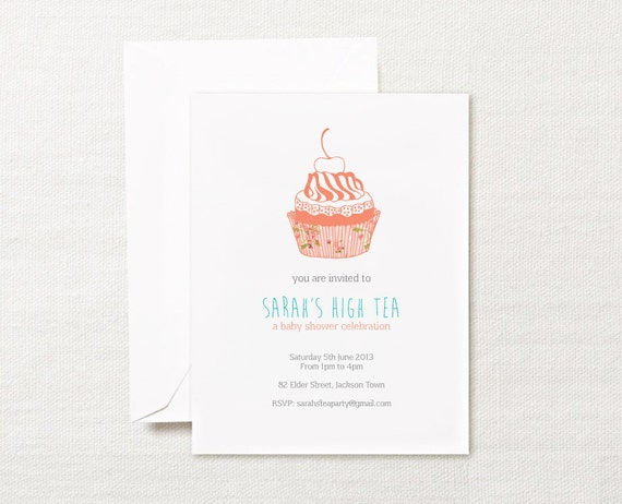 PRINTABLE Tea Party Cupcake Invitation
